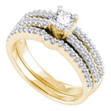 14K Yellow-gold 0.97CTW DIAMOND 0.40CT ROUND CENTER BRIDAL SET #56477v2