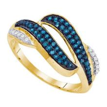 10KT Yellow Gold 0.33CTW BLUE DIAMOND MICRO-PAVE RING #52547v2