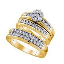 10K Yellow-gold 0.09CT DIAMOND FANUK TRIO SET #50580v2