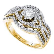 14KT Yellow Gold 1.02CTW DIAMOND 0.33CTW ROUND CENTER BRIDAL RING #56433v2