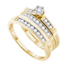14KT Yellow Gold 0.46CT DIAMOND ROUND CENTER TRIO SET #63982v2