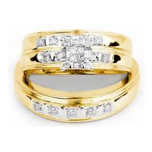 10K Yellow-gold 0.33CT DIAMOND CLUSTER TRIO SET #64828v2