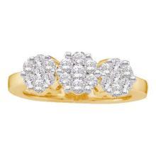 14KT Yellow Gold 0.75CTW DIAMOND 3 FLOWER RING #60291v2