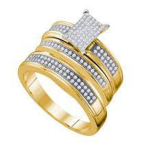 10KT Yellow Gold 0.42CTW DIAMOND MICRO PAVE TRIO SET #51946v2