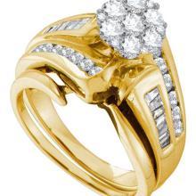 14K Yellow-gold 1.09CT DIAMOND FLOWER BRIDAL SET #57478v2