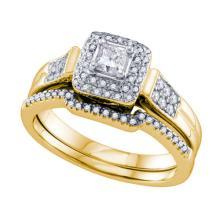 14KT Yellow Gold 0.50CTW DIAMOND 0.20CT CENTER PRINCESS BRIDAL SET #58730v2