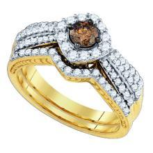 14KT Yellow Gold 1.17CTW COGNAC DIAMOND 0.36-CRD DIA BRIDAL SET #59345v2