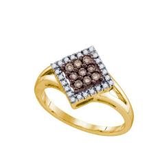 10KT Yellow Gold 0.25CTW COGNAC DIAMOND LADIES FASHION RING #50849v2