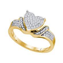10K Yellow-gold 0.20CT DIAMOND MICRO PAVE HEART RING #67496v2