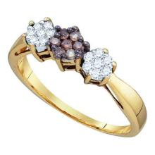 10KT Yellow Gold 0.26CTW COGNAC DIAMOND FLOWER RING #50697v2