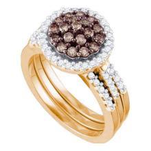 10K Yellow-Gold 1.09CTW COGNAC DIAMOND FLOWER BRIDAL SET #58872v2