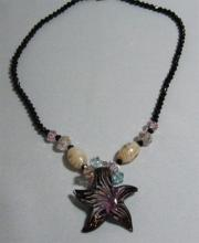 124CTW BABY PINK STAR MORANO PENDANT BEADED NECKLACE 18 #35578v1