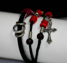 SYNTETIC LEATHER JESUS CHRIST CHARM BRACELET #42130v1