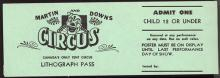 Martin and Downs Lithograph Pass Circus Ticket #35194v2