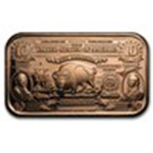 1 oz Copper Bar - $10 Bison Banknote #33682v2