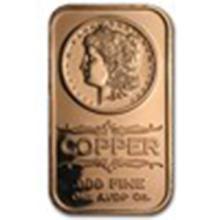 1 oz Copper Bar - Morgan Dollar #33687v2