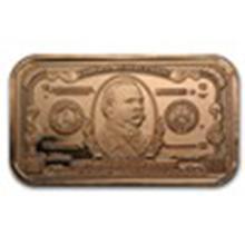 1 oz Copper Bar - $1000 Grover Cleveland Banknote #33683v2