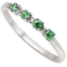 GENUINE 0.15 CTW EMERALD AND DIAMOND PLATINUM PLATED .925 STERLING SILVER RING #42249v2