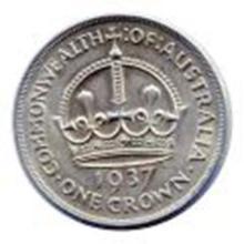 Australia 1 crown silver 1937 VF-XF #33820v2