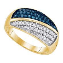10K Yellow-gold 0.50CTW BLUE DIAMOND FASHION BAND #54337v2
