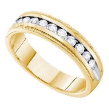 14KT Yellow Gold 0.25CTW DIAMOND MACHINE SET BAND #51822v2