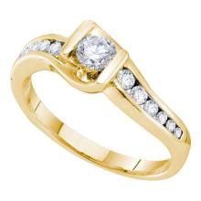14KT Yellow Gold 0.50CTW DIAMOND 0.25CTW CENTER ROUND BRIDAL RING #56418v2