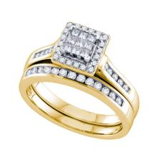 14KT Yellow Gold 0.50CTW DIAMOND INVISIBLE BRIDAL SET #58738v2