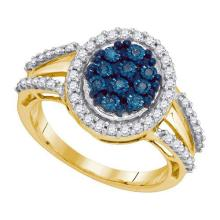 10KT Yellow Gold 0.51CTW BLUE DIAMOND MICRO-PAVE RING #53230v2