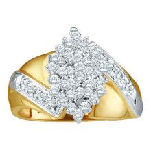 10KT Yellow Gold 0.50CTW DIAMOND CLUSTER RING #50997v2