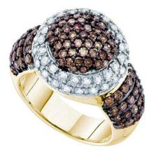 10KT Yellow Gold 2.00CTW COGNAC DIAMOND LADIES CLUSTER RING #58135v2