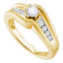 14KT Yellow Gold 0.40CTW DIAMOND ROUND CENTER BRIDAL RING #53754v2