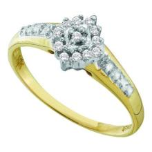 10KT Yellow Gold 0.10CTW-DIAMOND CLUSTER RING #52634v2