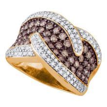 10KT Rose Gold 2.10CTW COGNAC DIAMOND LADIES FASHION BAND #58870v2