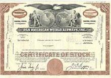 COLLECTIBLE CIRCA 1980s PAN AMERICAN STOCK CERT. GREAT SHAPE #34706v2
