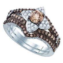 14KT White Gold 1.33CT COGNAC DIAMOND 0.45-CRD DIA BRIDAL SET #59323v2