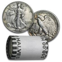 $10 Walking Liberty Halves - 90% Silver 20-Coin Roll (X #78323v1