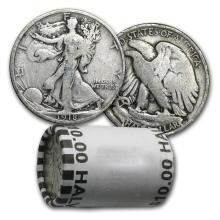 $10 Walking Liberty Halves - 90% Silver 20-Coin Roll (1 #78322v1