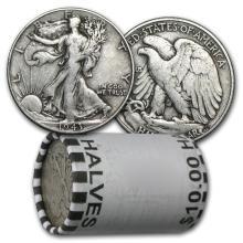 $10 Walking Liberty Halves - 90% Silver 20-Coin Roll (A #78321v1