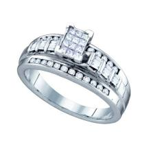 925 Sterling Silver White 0.50CT DIAMOND LADIES INVISIBLE RING SIZE 8 #61058v2