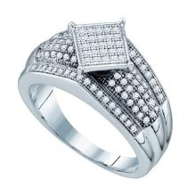 925 Sterling Silver White 0.33CTW DIAMOND MICRO PAVE RING #53915v2