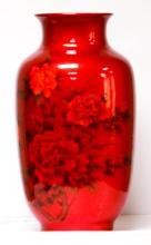 RED PORCELAIN VASE W/ FLOWERS #79852v1