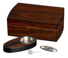 Visol Polished Walnut Cigar Gift Set Including Ashtray  #16851v2