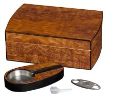 Visol Matte Walnut Cigar Humidor Gift Set w/ Cutter & A #16852v2