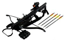 175LBS RECURVE HUNTING CROSSBOW COMES/STRAP, RED DOT SIGHT, QUIVER, AND 4 16
