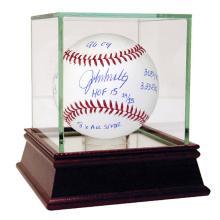 JOHN SMOLTZ AUTOGRAPHED MLB BASEBALL WITH CAREER STATS  #42502v2