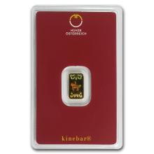 1 gram Gold Bar - Austrian Mint (KineBar Design, In Ass #10125v1