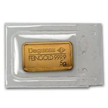 5 gram Gold Bar - Degussa (Pressed) #10110v1
