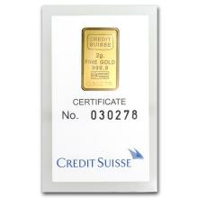 2 gram Gold Bar - Credit Suisse Statue of Liberty (In A #10141v1