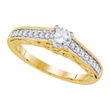 14KT Yellow Gold 0.68CTW DIAMOND 0.40CT-CRD BRIDAL RING #59859v2