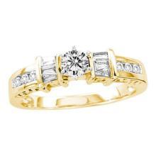 14KT Yellow Gold 0.50CTW DIAMOND 0.25CTW CENTER ROUND BRIDAL RING #53345v2
